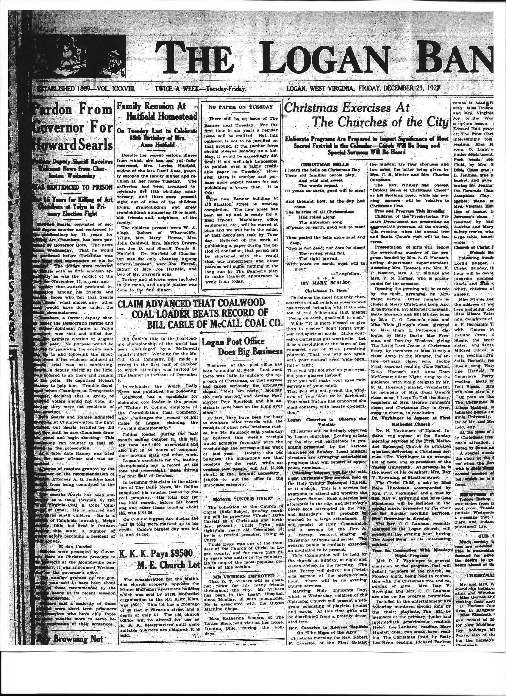 1927 Logan Banner Article describing the Klan's purchase of the property  from the church.