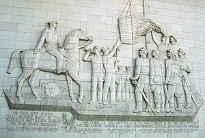 Section of Fort Moore Pioneer Memorial showing raising of American flag in 1847. The flag was raised by the Mormon Battaltion