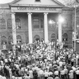 Logan County Courthouse circa 1960, President Kennedy giving a speech. retrieved from http://loganwv.us/logan-west-virginia-photos/?nggpage=2 June 25, 2015