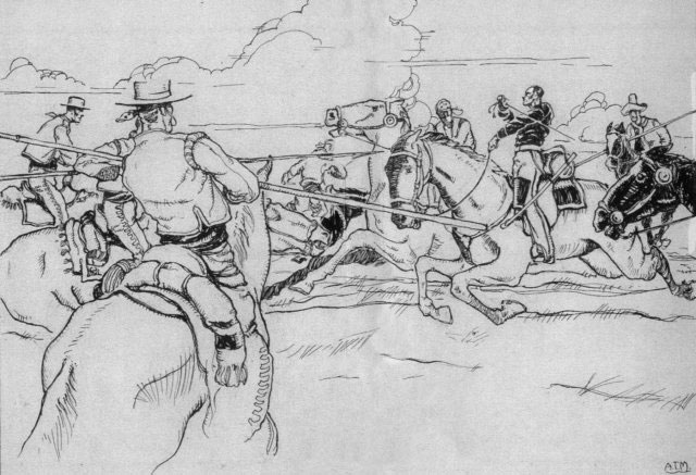 Scene depicting Capt. Gillespie fighting off lancers that surrounded him