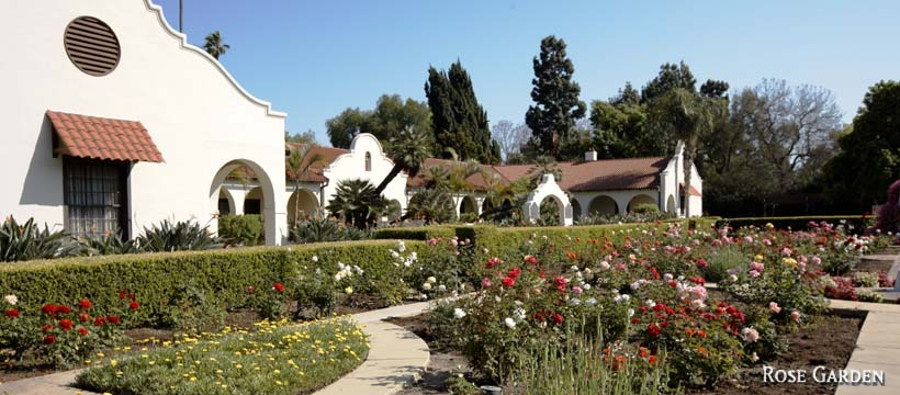 Front of Dominguez Rancho and garden