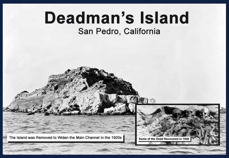 Dead Man's Island/Island of the Dead in 1928 with remains of the four dead American servicemen.