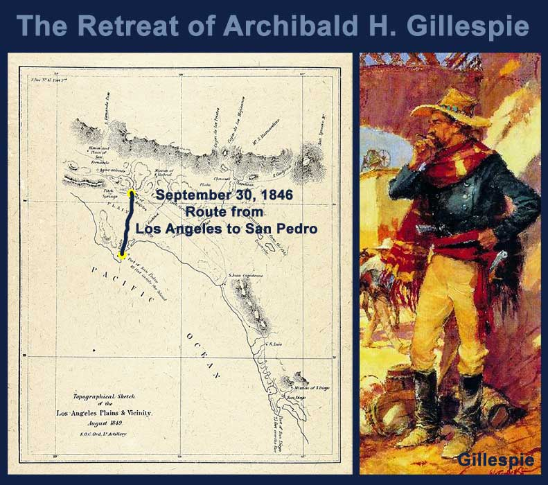Route of Gillespie and the American force after retreating from Los Angeles. Battle of Dominguez would commence shortly after.