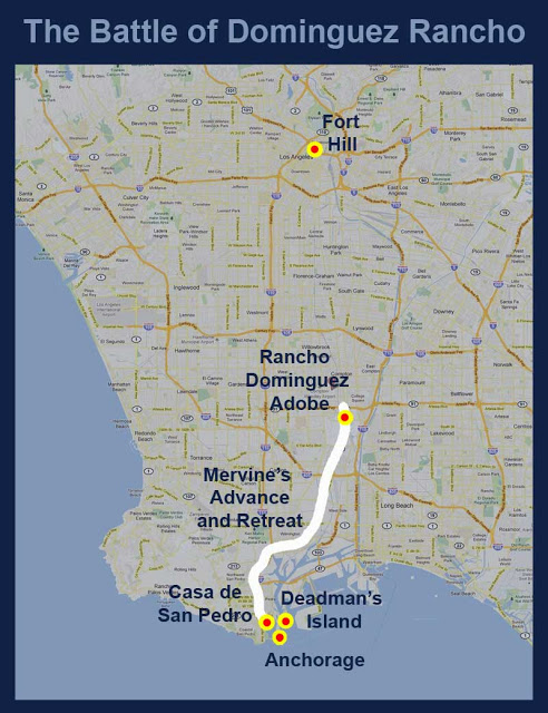 Route of Gillespie to Rancho Dominguez, Mervine's route from bay to rescue Gillespie and their subseguent retreat from Dominguez to American Naval ships after Battle of Dominguez