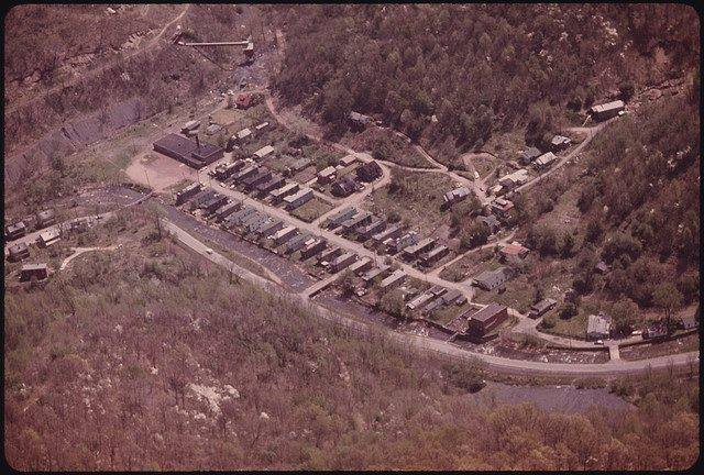 Aerial view of the location where Omar Douglass School stood.  On the left, is Omar Douglas.