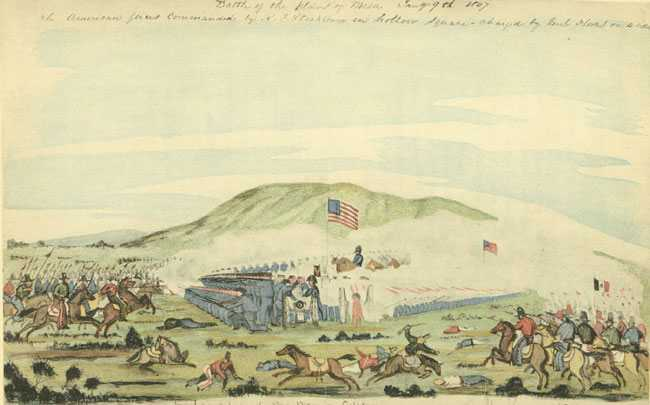 Drawing of Battle of La Mesa made shortly afterward by a soldier who participated. Kearny is seen on a horse, commanding the battle as the Mexicans failed to break through while charging on both flanks of the Americans.