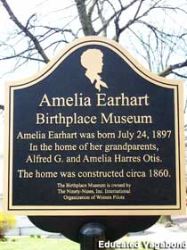 Amelia Earhart plaque outside of the Amelia Earhart Birthplace Museum
