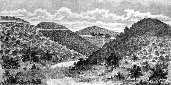 undated early drawing of the portion of the Cahuenga Pass where battle is believed to have been fought