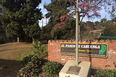 marker alongside Cahuenga Blvd and entrance to El Paseo de Cahuenga Park about the battle