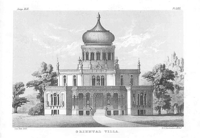 """Sloan's Oriental Villa"" by Samuel Sloan (1815-1884) - Sloan, Samuel. The Model Architect. a Series of Original Designs for Cottages, Villas, Suburban Residences, Etc: Accompanied by Explanations, Specifications, Estimates, and Elaborate Details. Phi"