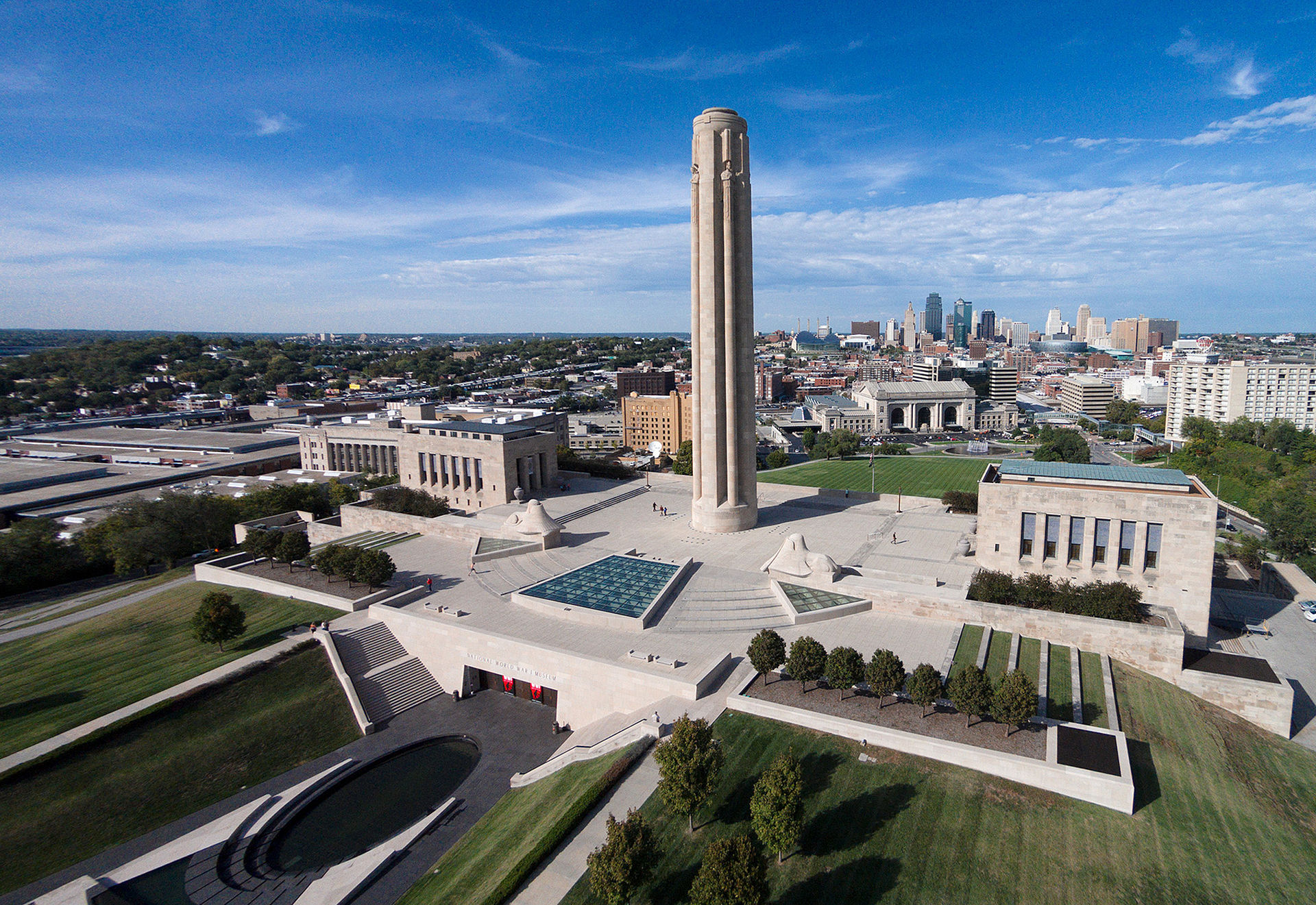 Aerial view of the memorial and museum