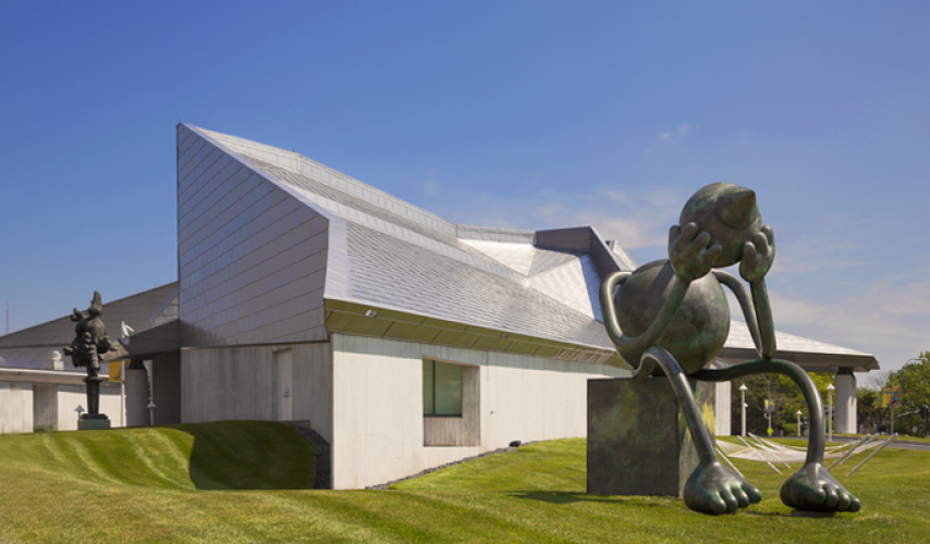 This large sculpture is located on the museum grounds.