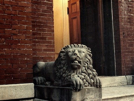 One of the two carved lions protecting the front entrance of Sauer Castle