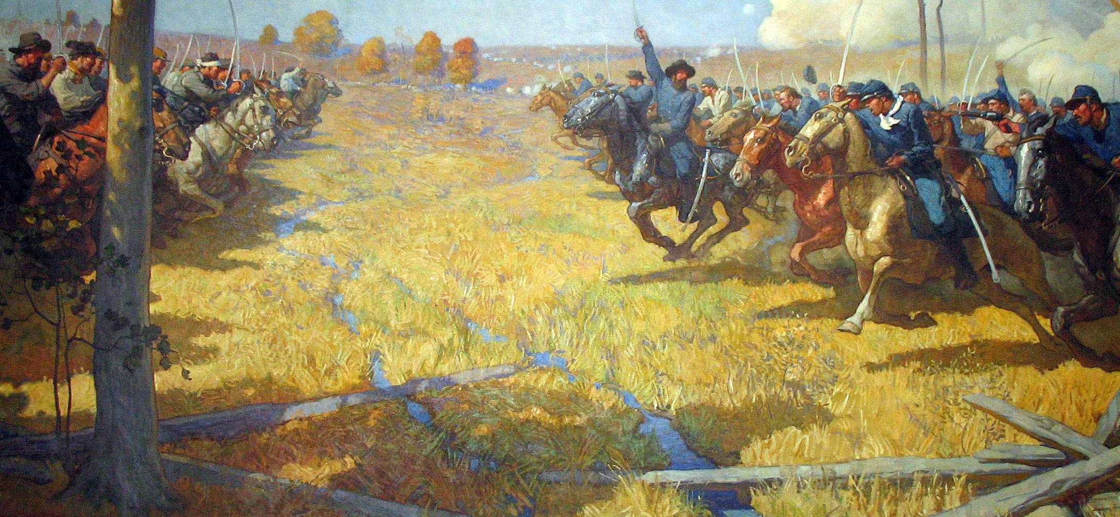 The climax of the Battle of Westport at Brush Creek in a fanciful painting by N.C. Wyeth at the Missouri State Capital. Though cavalry charges did take place, much of the fighting was dismounted. Some units lacked sabers altogether.