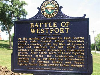 Battle of Westport Historical Marker. Dozens of markers throughout Big Blue Battlefield Park, Kansas City, and Independence chart the progression of events surrounding the Battle of Westport.