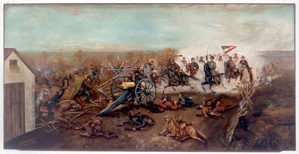 A painting of Capt. Ross Burns's Union artillery in action at Mockbee's Farm on Oct. 22, 1864. Burns may have had the painting done by Benjamin Mileham to commemorate his cannon's contribution to the fight, though they were eventually overrun.