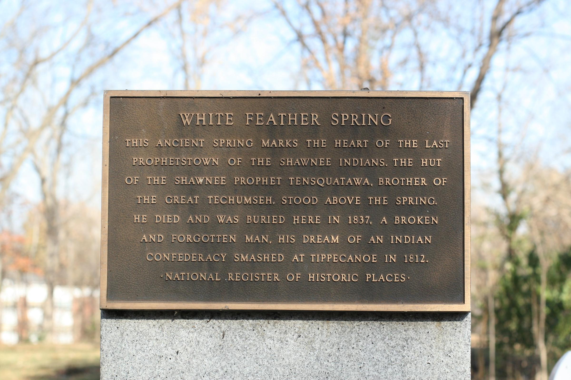 "The historical marker at Tenskwatawa's presumed gravesite. Although he did indeed die in poverty, the harsh indication that he was a ""broken and forgotten man"" is debatable."