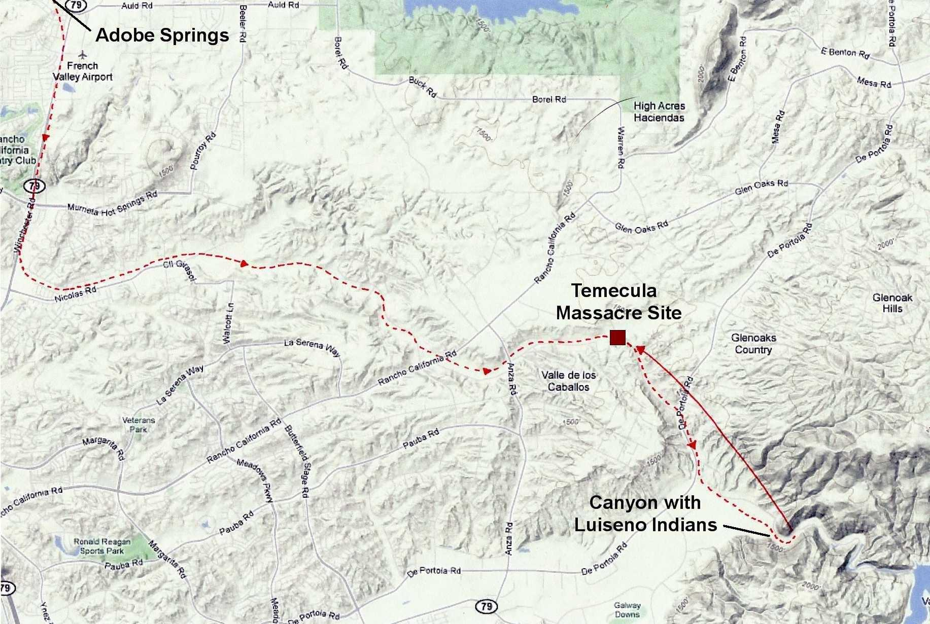 Map showing route of Californio/Cahuilla forces to massacre site. Locations of massacre and burial site are marked.