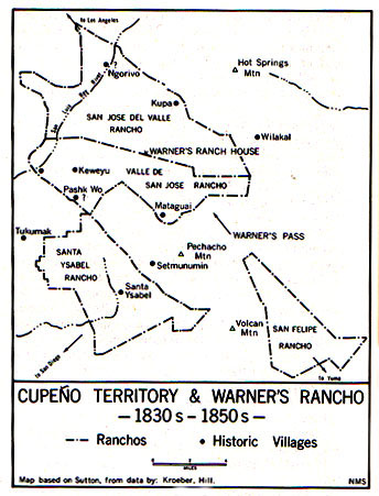 1851 map showing Warner's Ranch, modern-day Warner Springs. This was the general area where the 11 lancers were taken to be killed by the Luiseno Indians.