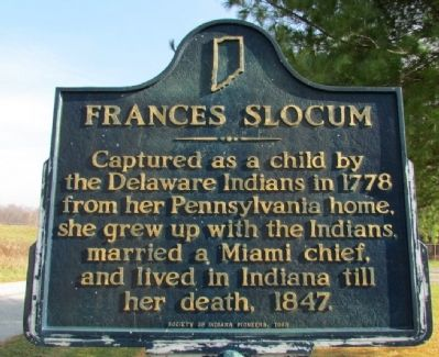 Photograph of Frances Slocum in the Frances Slocum Cemetery.