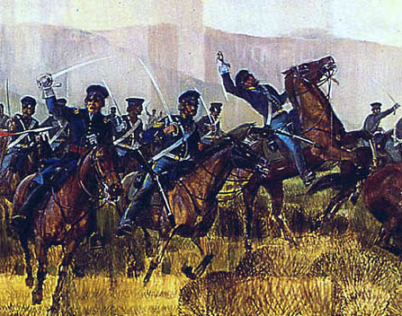 Rendition of American dragoons charging during battle