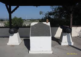 Battle of Rio San Gabriel memorial with 2 cannons said to be at the battle