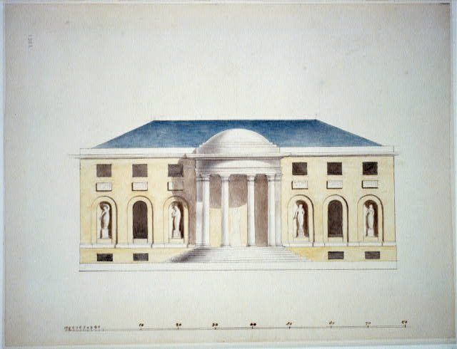 An architectural drawing by Dr. William Thornton, who designed notable buildings in Washington, D.C. such as the United States Capitol and Octagon House. Library of Congress.