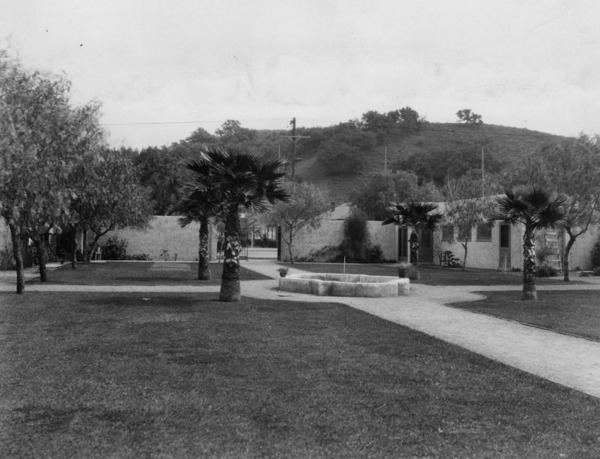 Campo de Cahuenga in 1928 after being rebuilt near original adobe location. This reconstructed site sits as a recreation of the adobe and museum to the treaty signing and history of the area.