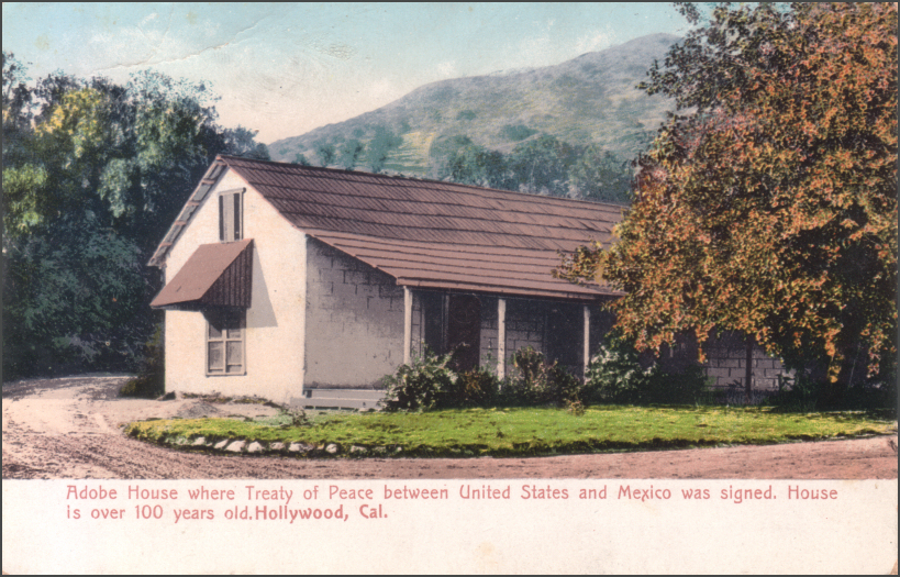 Early 1900s colored postcard showing the original adobe