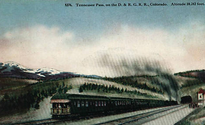 Postcard image of D&RGW train at Tennessee Pass, Colorado, circa 1910s-1920s (HHT Co.)