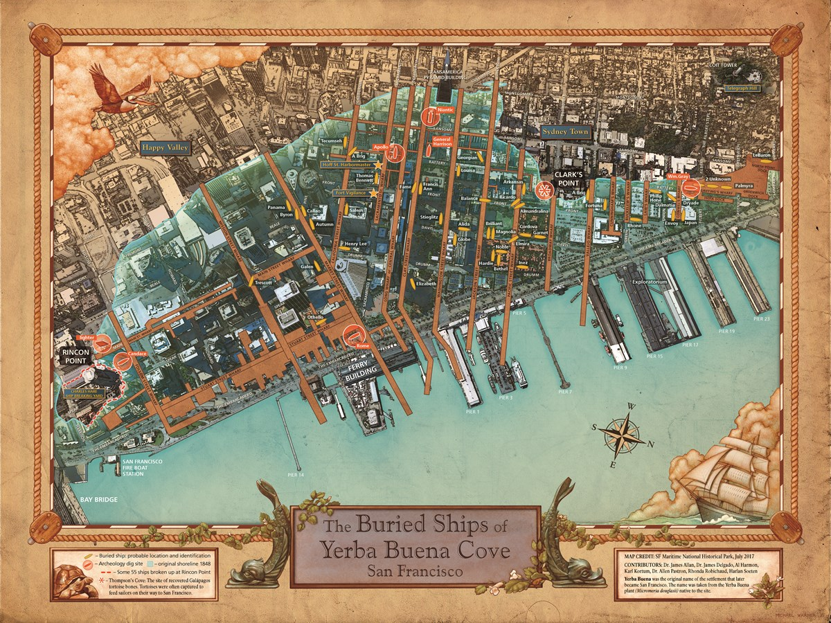 Illustrated Map of the Buried Ships of Yerba Buena cove (San Francisco) by Michael Warner et al. in 2017