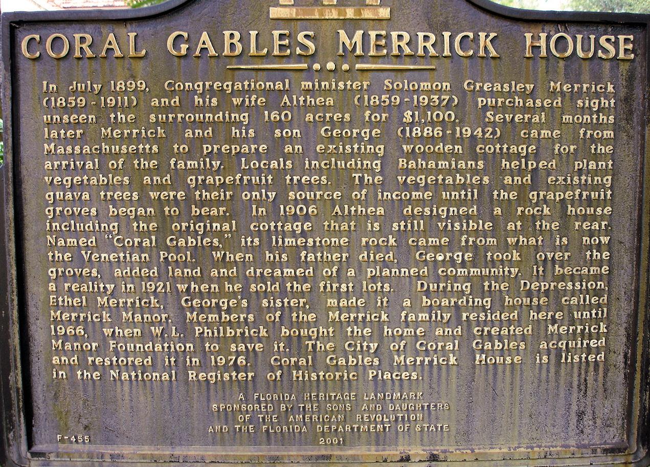 Merrick House historical marker