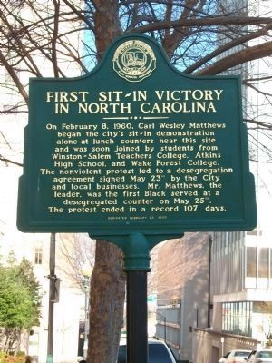 Historical erected to celebrate the sit-in victory in Winston-Salem.