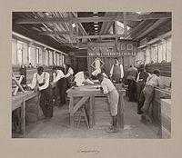 A carpentry class at Calhoun Colored School around 1900
