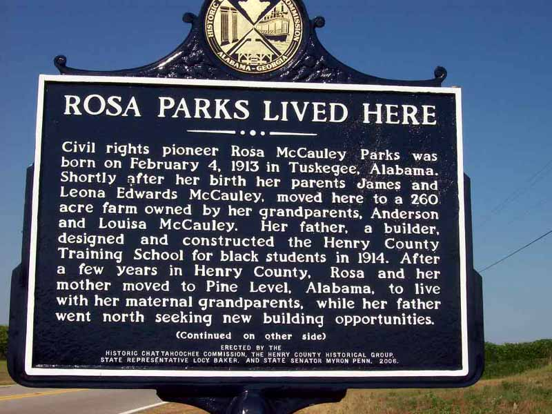 "Picture of the ""Rosa Lived Here"" historical marker is located on Highway 10 near Henry County Road 133"