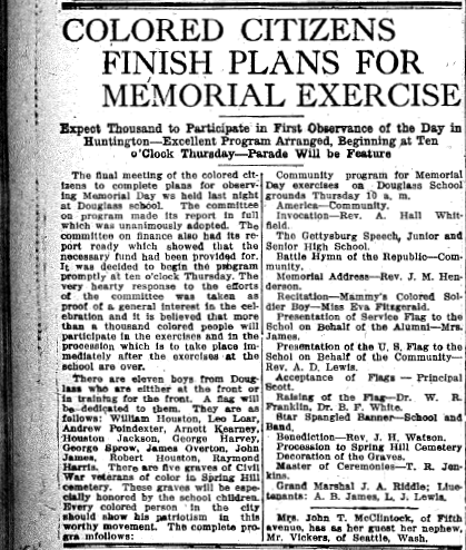 Herald-Dispatch article from May 17, 1918. Lists names of African American Huntingtonians serving in World War I and young men recently sent off for basic training.