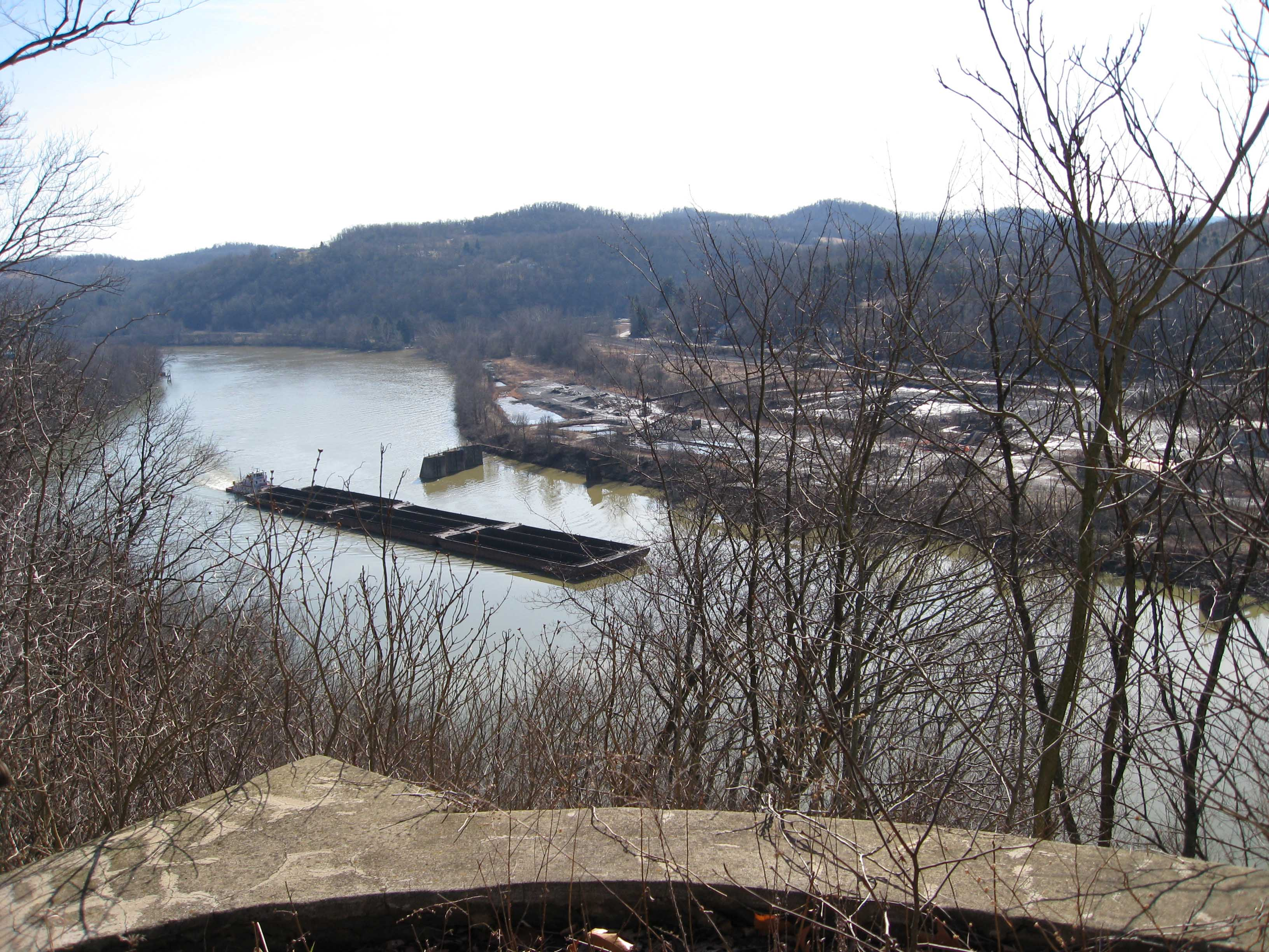 View of the Monongahela River from a gazebo on the grounds.