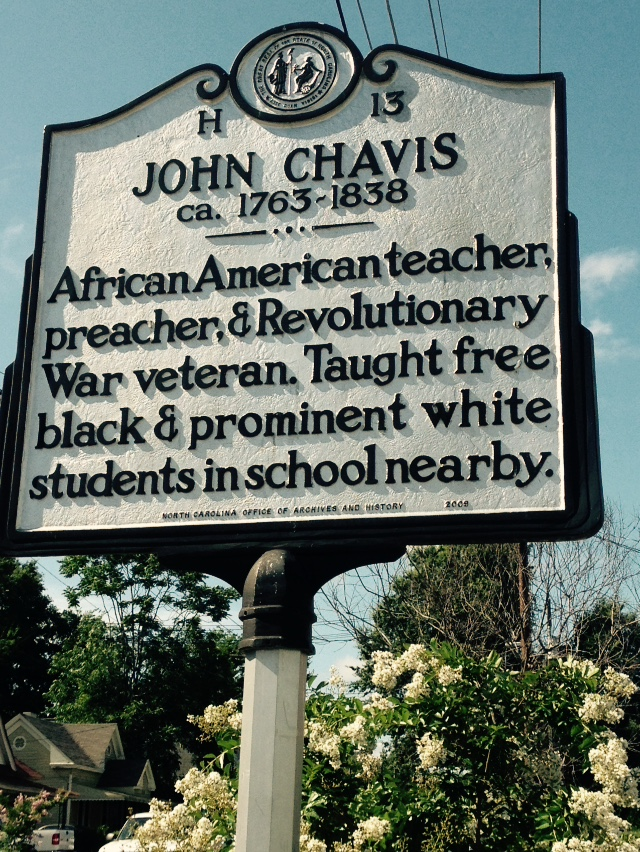 Nearby historic marker noting the importance of John Chavis, the namesake of the park.
