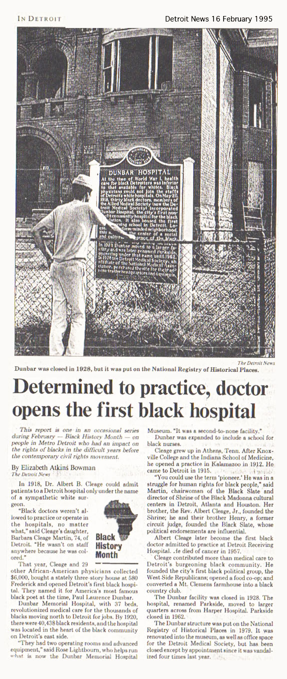 A newspaper article from 1995 about the hospital.