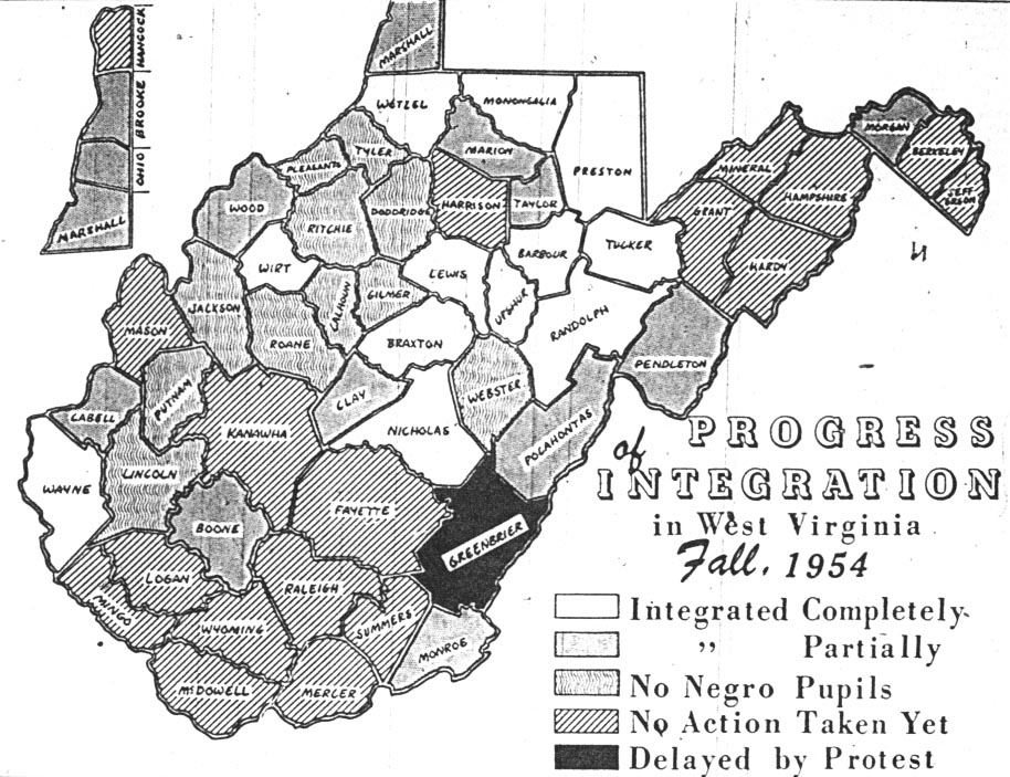 This diagram shows the progress of integration in WV counties by fall 1954. A signifigant numer of counties had made no efforts to integrate yet, including McDowell. Image obtained from the West Virginia Division of Culture and History