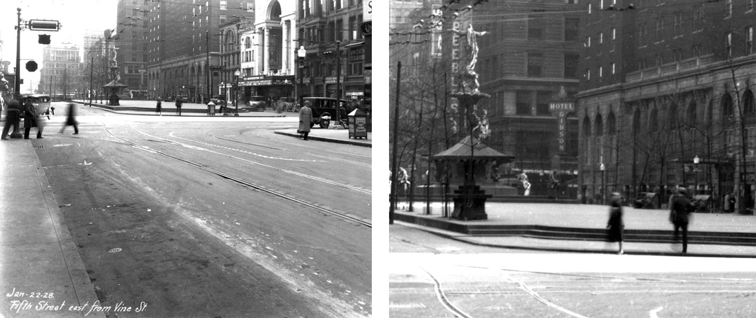 This is a photo taken in 1928 showing the fountain in the background.