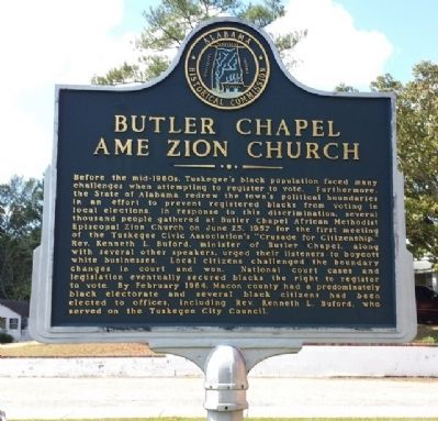 Historic Marker honoring those who participated in the Crusade for Citizenship meetings that took place at the Church.
