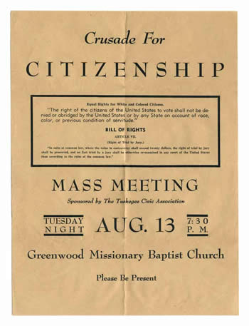 Poster for the Crusade for Citizenship from the collection of William Levi Dawson at Emory University