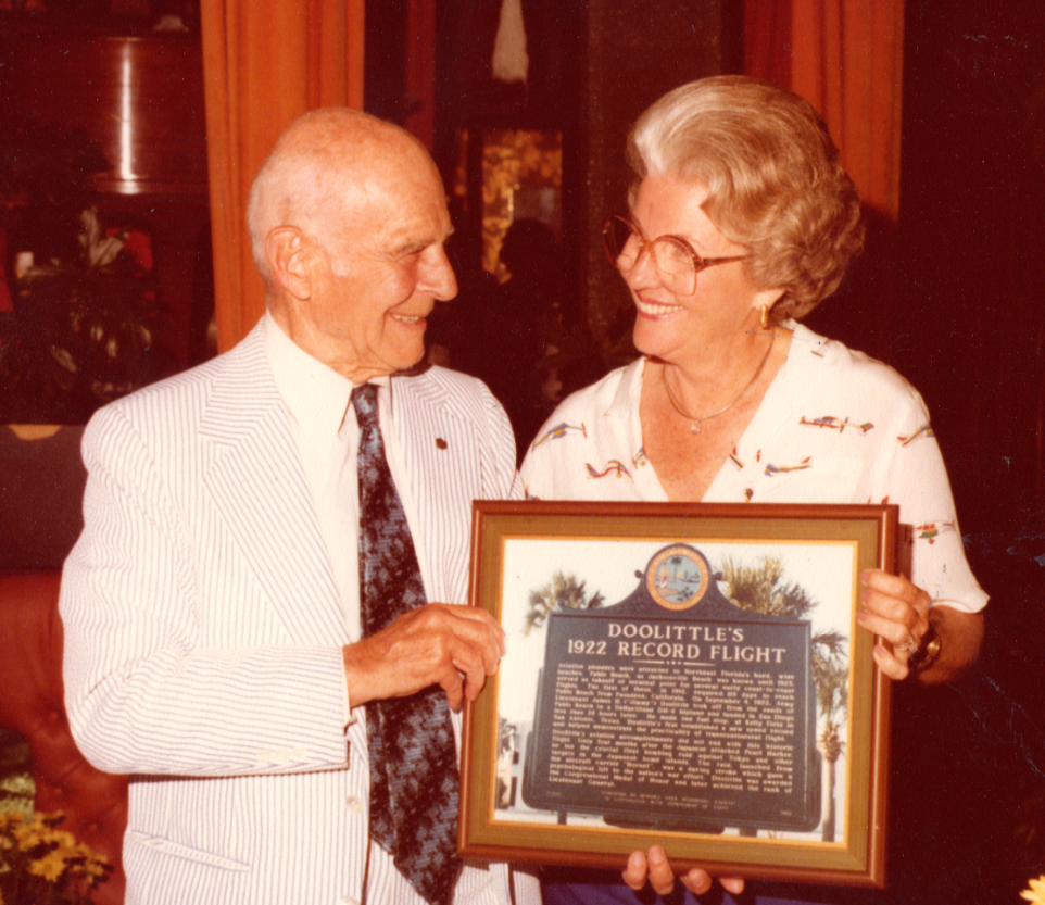 James Doolittle and Jean Haden McCormick at the dedication of his marker on September 4, 1980. McCormick was the founder of the Beaches Area Historical Society, today known as the Beaches Museum