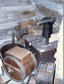 Here are items used back in the days of the pioneer log cabin.