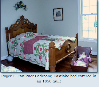 This is the beautifully restored bedroom of the Chickahominy House in Monroe, Ohio/