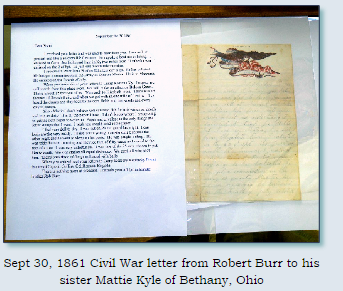 Civil War letter displayed in the Chickahominy Museum located in historic Monroe, Ohio.