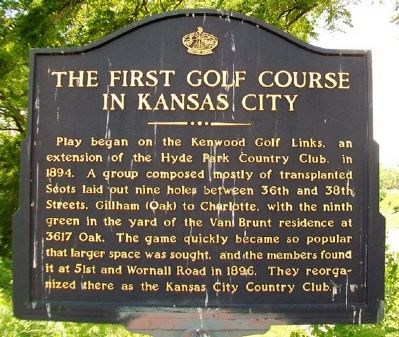 The First Golf Course in Kansas City marker