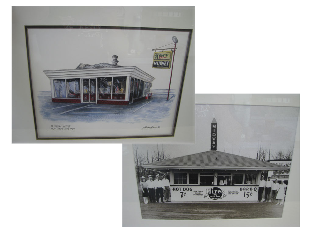 Illustration and historic photo of the drive-in