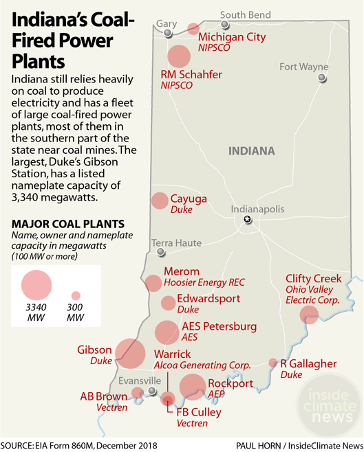 Map of Coal Plants in Indiana